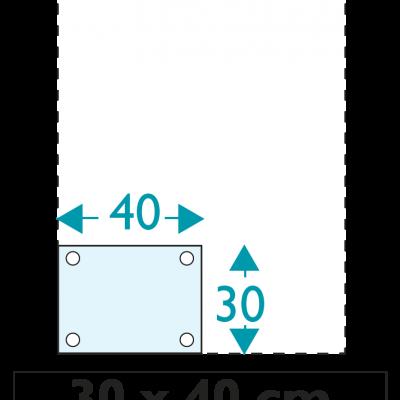 1 exemplaire - 30 x 40 cm - Recto - oeillets - ép : 3,5 mm