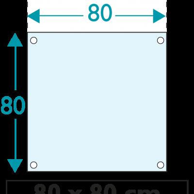 1 exemplaire - 80 x 80 cm - Recto - oeillets - ép : 3,5 mm