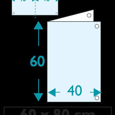 1 exemplaire - 60 x 80 cm - Recto - 4 oeillets - ép : 3,5 mm + RAINURAGE