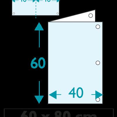 1 exemplaire - 60 x 80 cm - Recto - 6 oeillets - ép : 3,5 mm + RAINURAGE