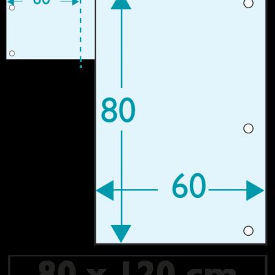 1 exemplaire - 120 x 80 cm - Recto / Verso - 6 oeillets - ép : 3,5 mm + RAINURAGE