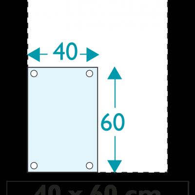 1 exemplaire - 40 x 60 cm - Recto / Verso - oeillets - ép : 3,5 mm