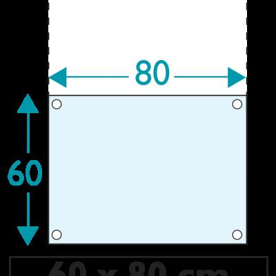 1 exemplaire - 60 x 80 cm - Recto / Verso - oeillets - ép : 3,5 mm