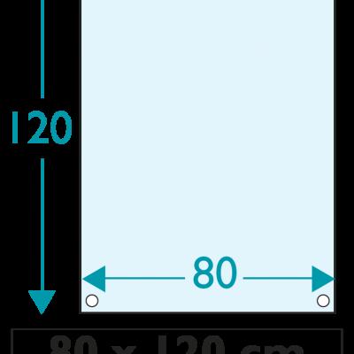 1 exemplaire - 120 x 80 cm - Recto / Verso - oeillets - ép : 3,5 mm