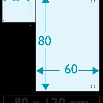 50 exemplaires - 120 x 80 cm - Recto - 4 oeillets - ép : 3,5 mm + RAINURAGE