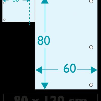 1 exemplaire - 120 x 80 cm - Recto - 6 oeillets - ép : 3,5 mm + RAINURAGE