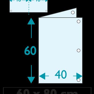 1 exemplaire - 60 x 80 cm - Recto / Verso - 6 oeillets - ép : 3,5 mm + RAINURAGE