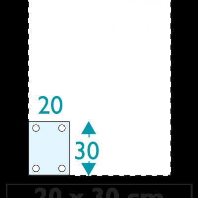1 exemplaire - 20 x 30 cm - Recto - oeillets - ép : 3,5 mm